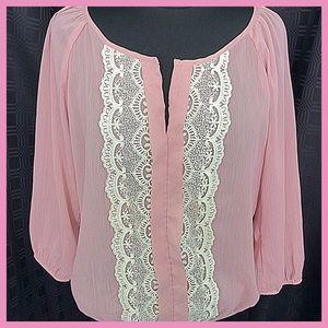 Charlotte Russe Dusky Pink Sheer Blouse Size XL